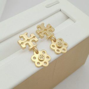 Tory Burch Logo Golden Marking Earrings